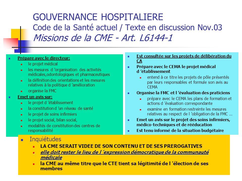 GOUVERNANCE HOSPITALIERE Code de la Santé actuel / Texte en discussion Nov.03 Missions de la CME - Art. L6144-1