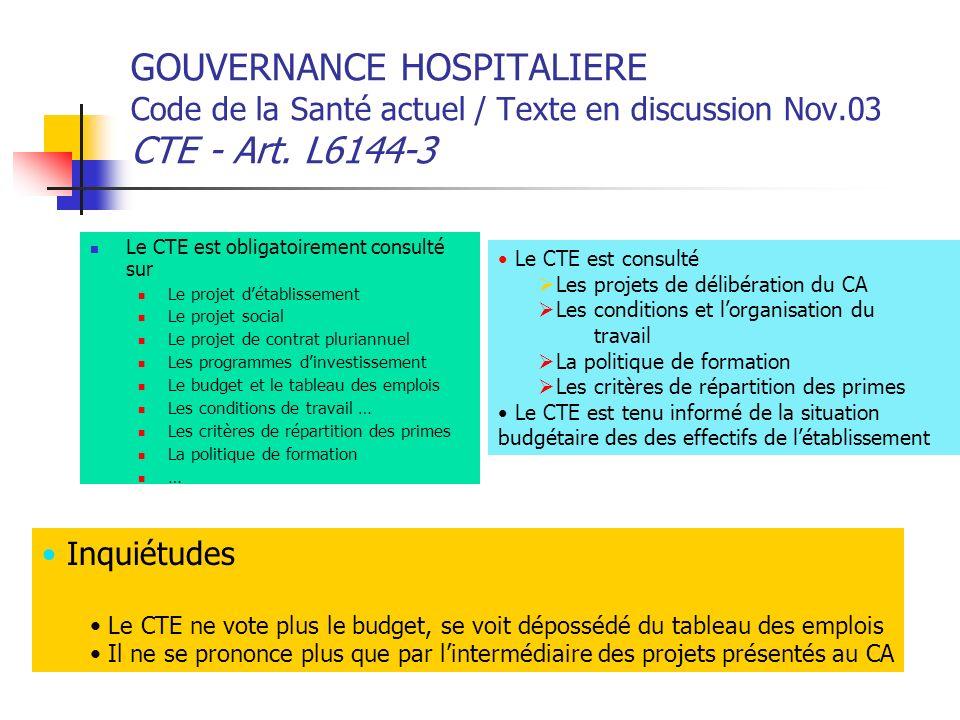 GOUVERNANCE HOSPITALIERE Code de la Santé actuel / Texte en discussion Nov.03 CTE - Art. L6144-3