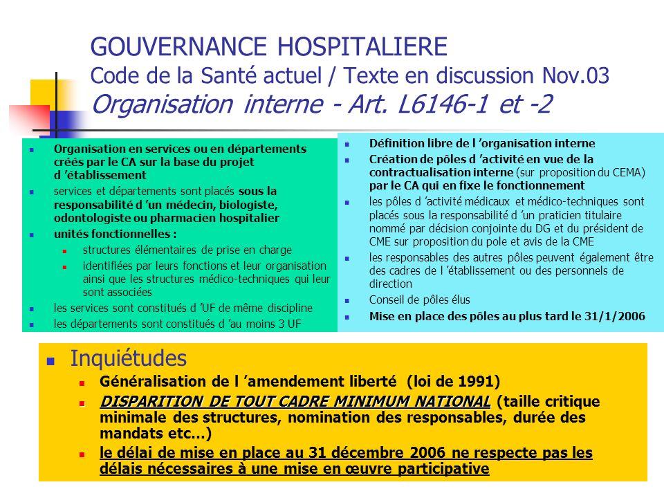 GOUVERNANCE HOSPITALIERE Code de la Santé actuel / Texte en discussion Nov.03 Organisation interne - Art. L6146-1 et -2