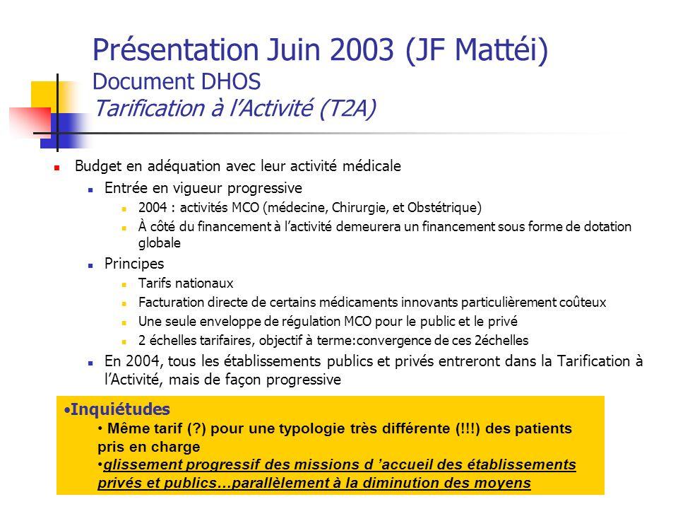 Présentation Juin 2003 (JF Mattéi) Document DHOS Tarification à l'Activité (T2A)