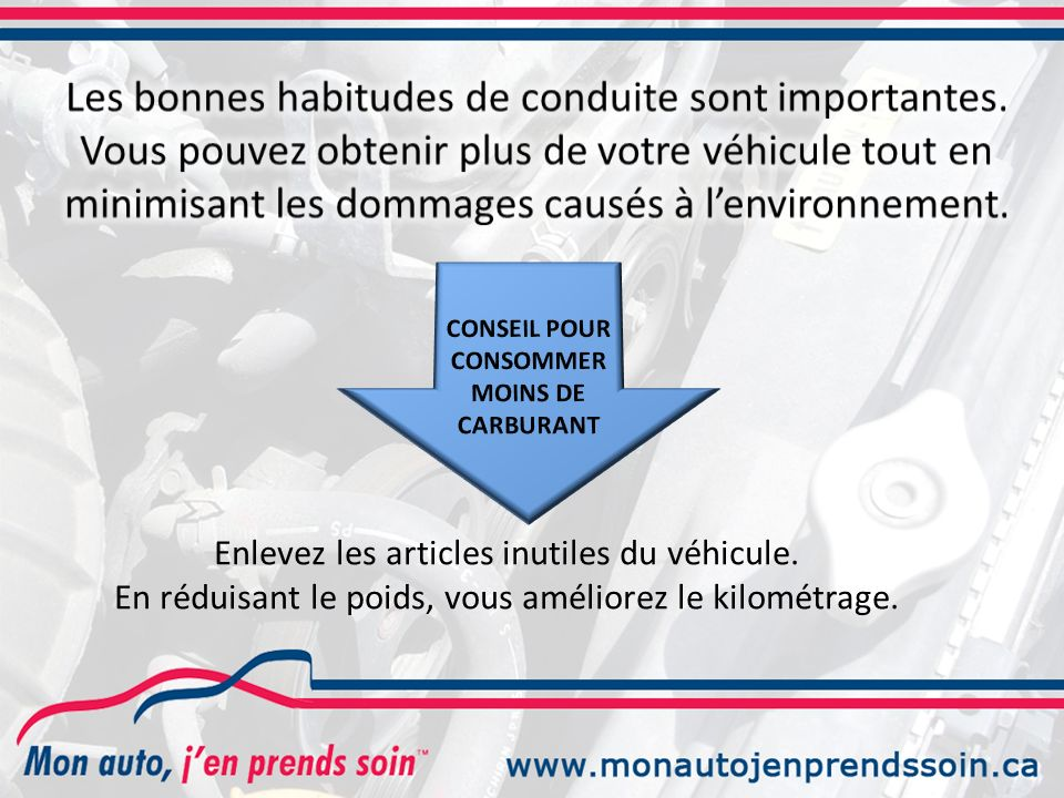 CONSOMMER MOINS DE CARBURANT