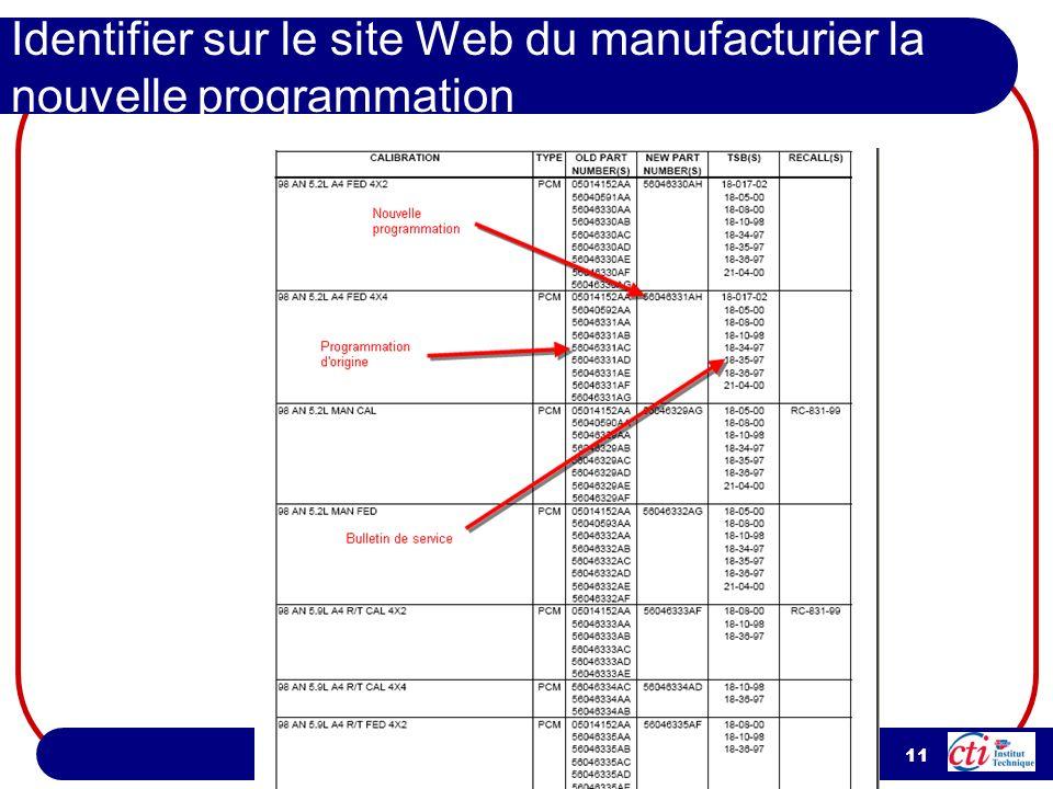 Identifier sur le site Web du manufacturier la nouvelle programmation