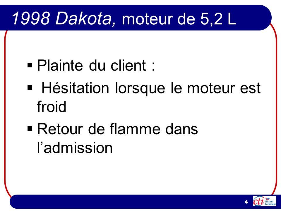 1998 Dakota, moteur de 5,2 L Plainte du client :