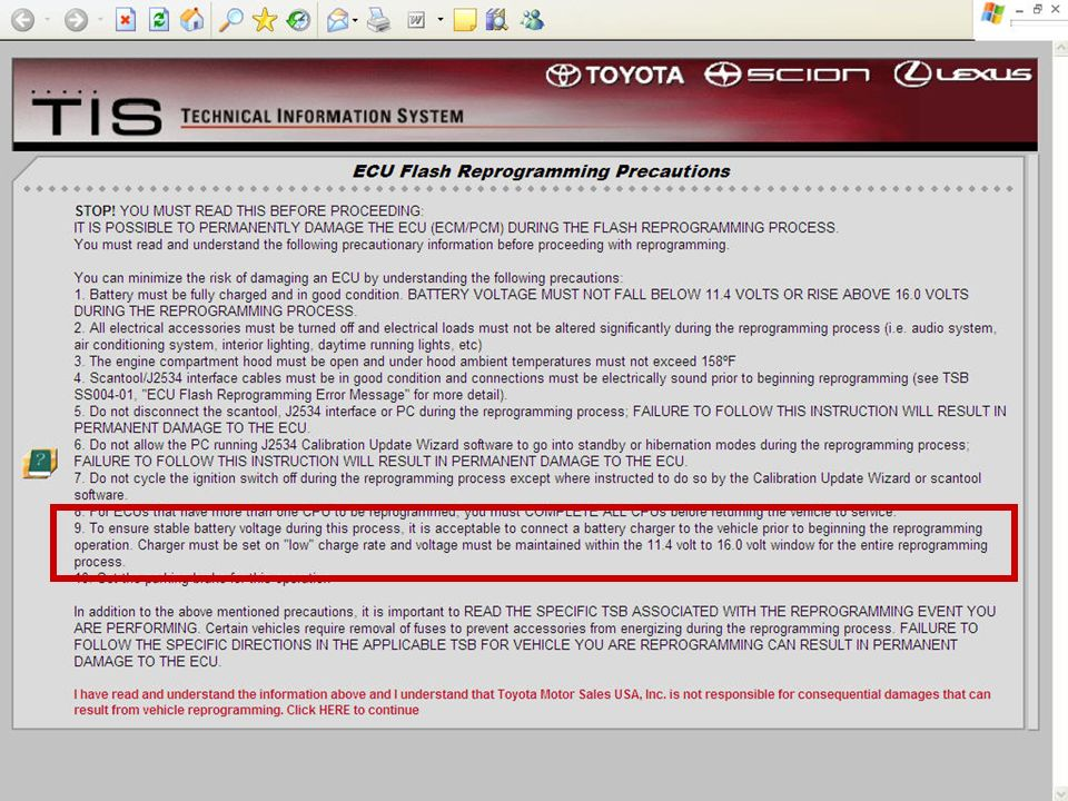 When the Toyota Reprogramming CD is inserted in your PC CD drive this auto-run menu appears. Read all of the reprogramming precautions before clicking the link at the bottom of the page to continue.