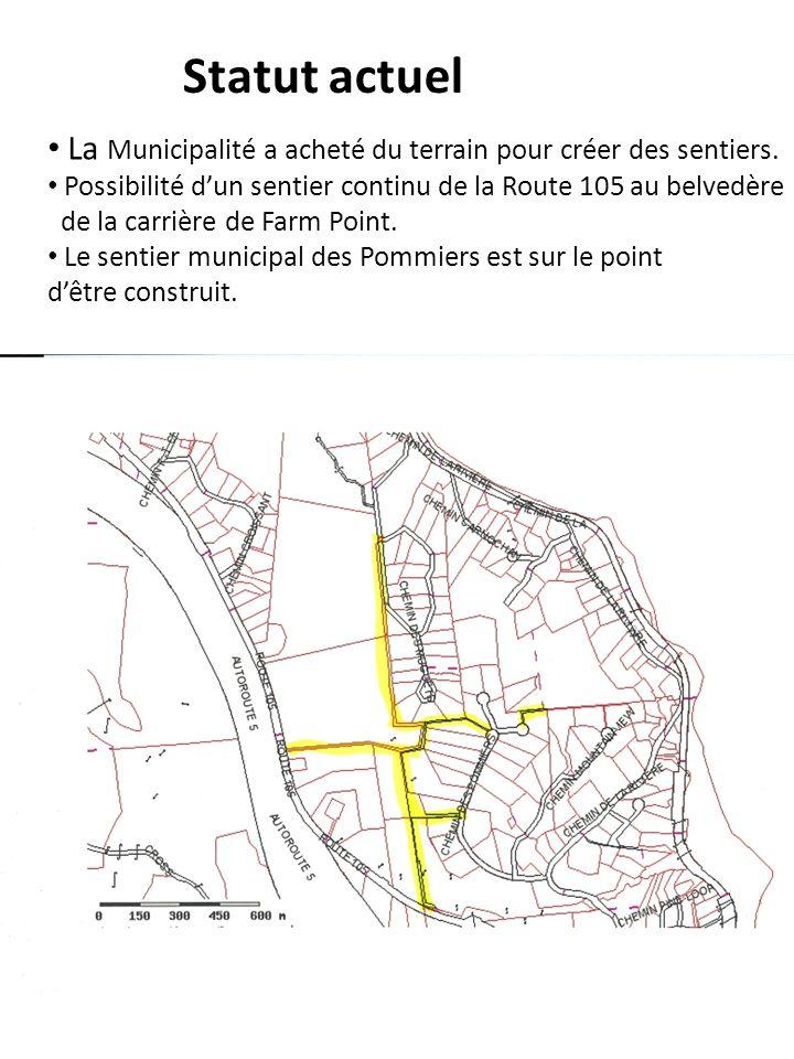 Statut actuelLa Municipalité a acheté du terrain pour créer des sentiers. Possibilité d'un sentier continu de la Route 105 au belvedère.