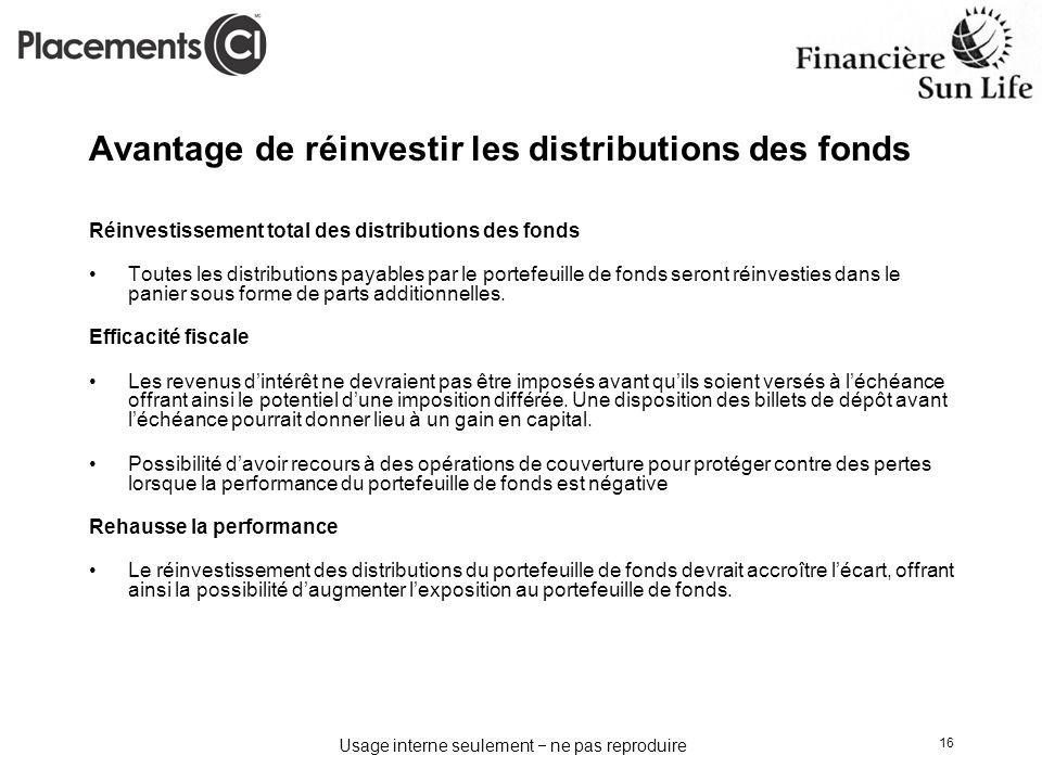 Avantage de réinvestir les distributions des fonds