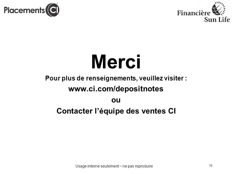 Merci www.ci.com/depositnotes ou Contacter l'équipe des ventes CI