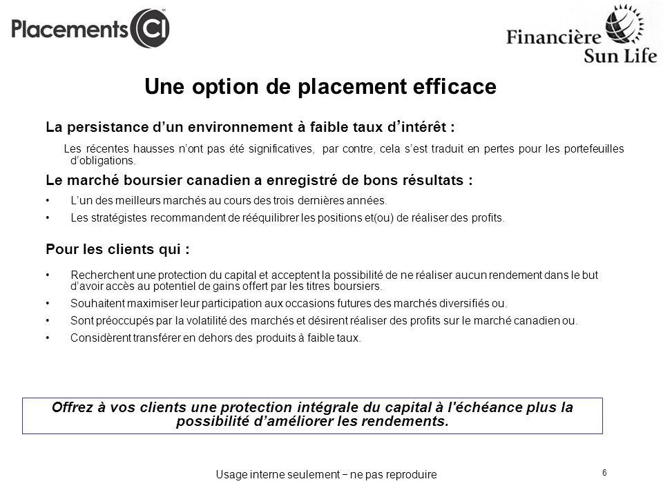 Une option de placement efficace