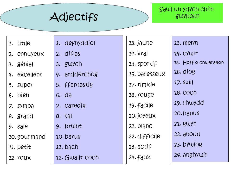 Adjectifs Sawl un ydych chi'n gwybod utile ennuyeux génial excellent