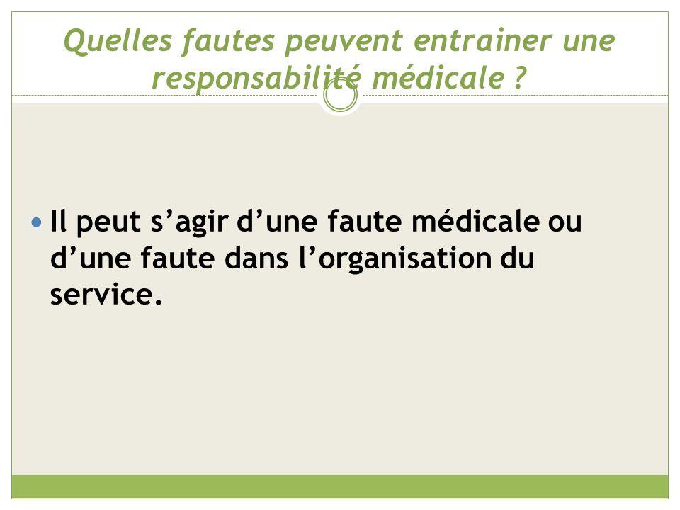 Quelles fautes peuvent entrainer une responsabilité médicale
