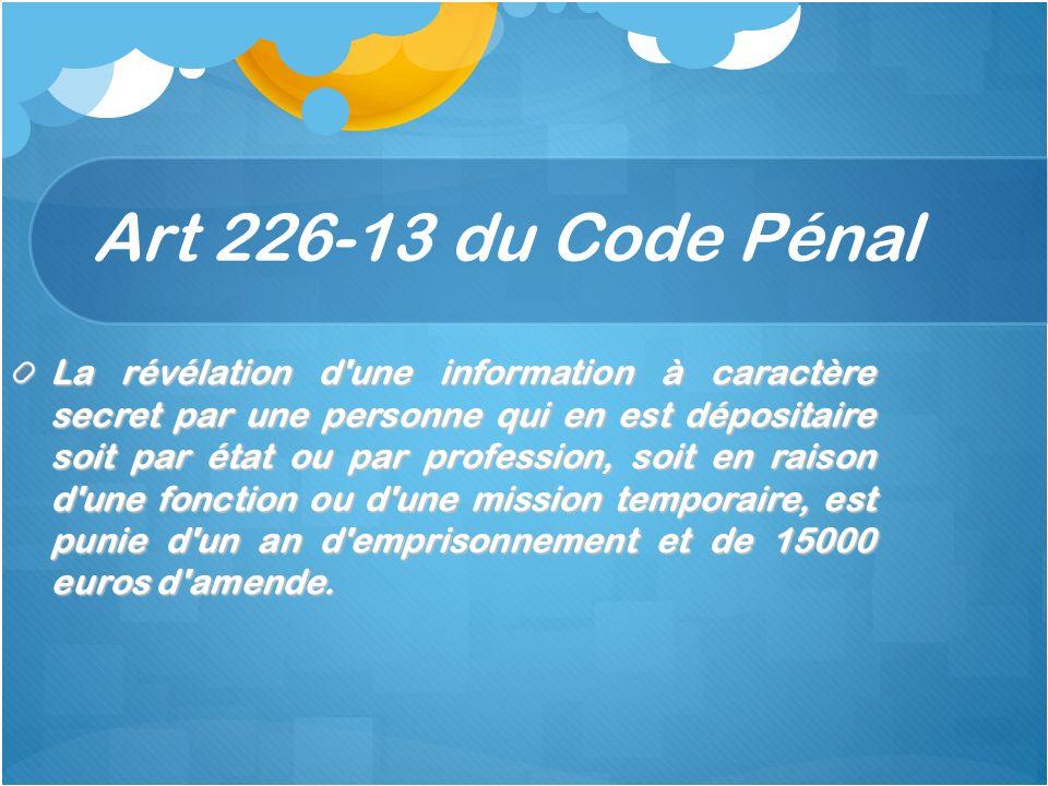Art 226-13 du Code Pénal