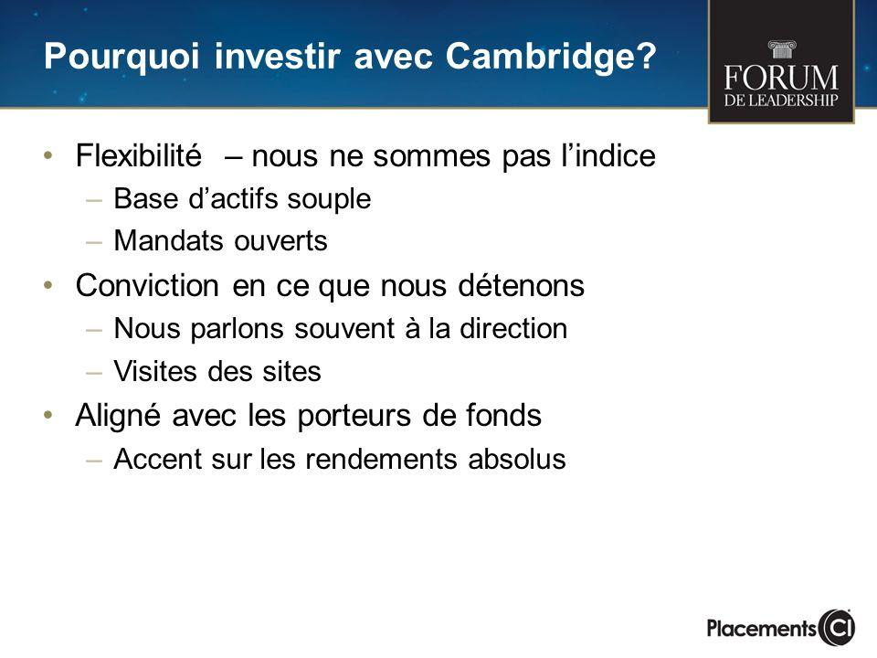 Pourquoi investir avec Cambridge