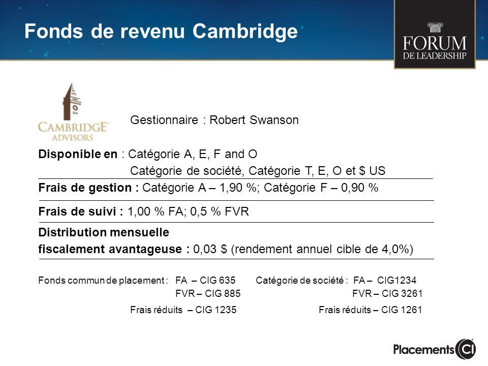 Fonds de revenu Cambridge