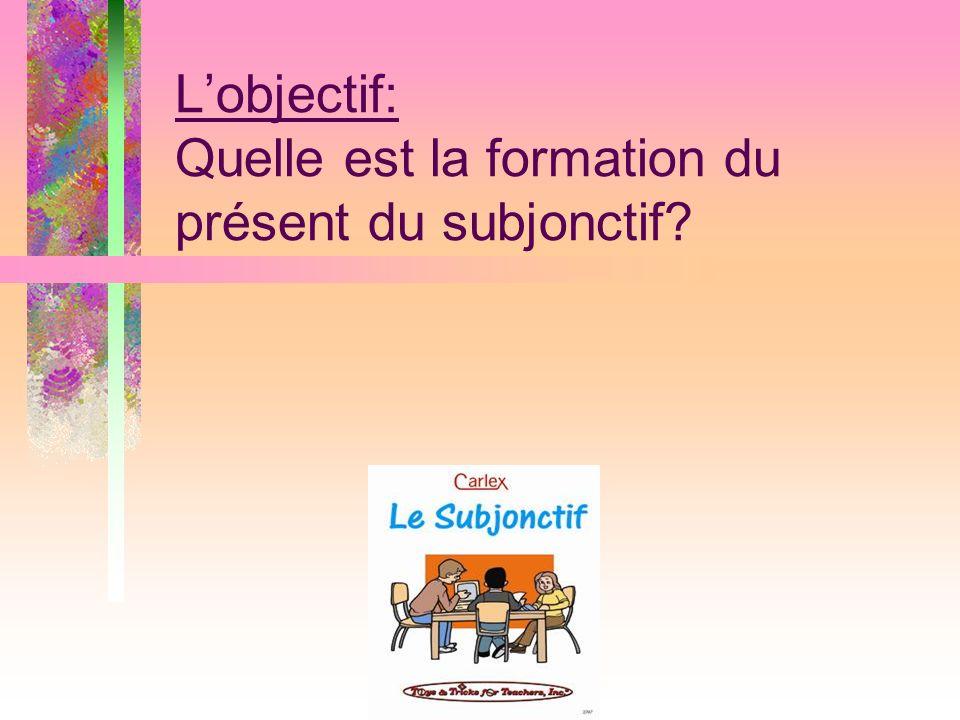 L'objectif: Quelle est la formation du présent du subjonctif