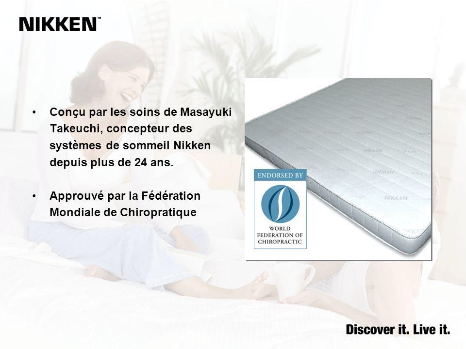 Conçu par les soins de Masayuki Takeuchi, concepteur des systèmes de sommeil Nikken depuis plus de 24 ans.