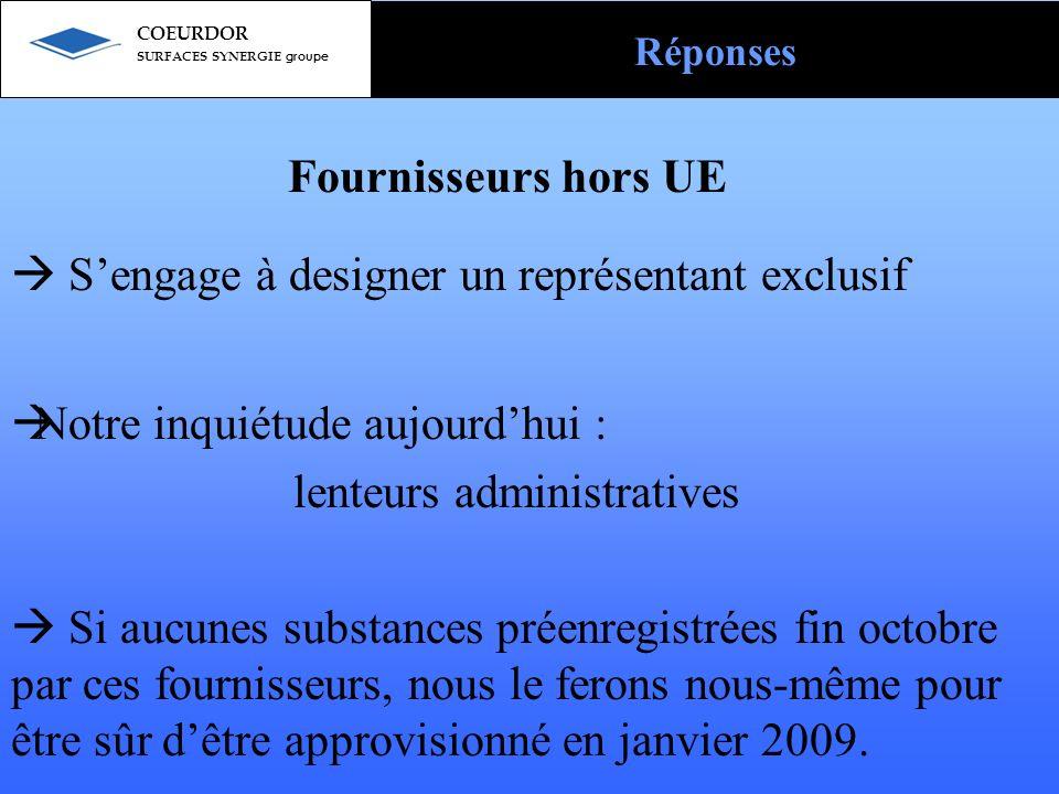 Fournisseurs hors UE  S'engage à designer un représentant exclusif