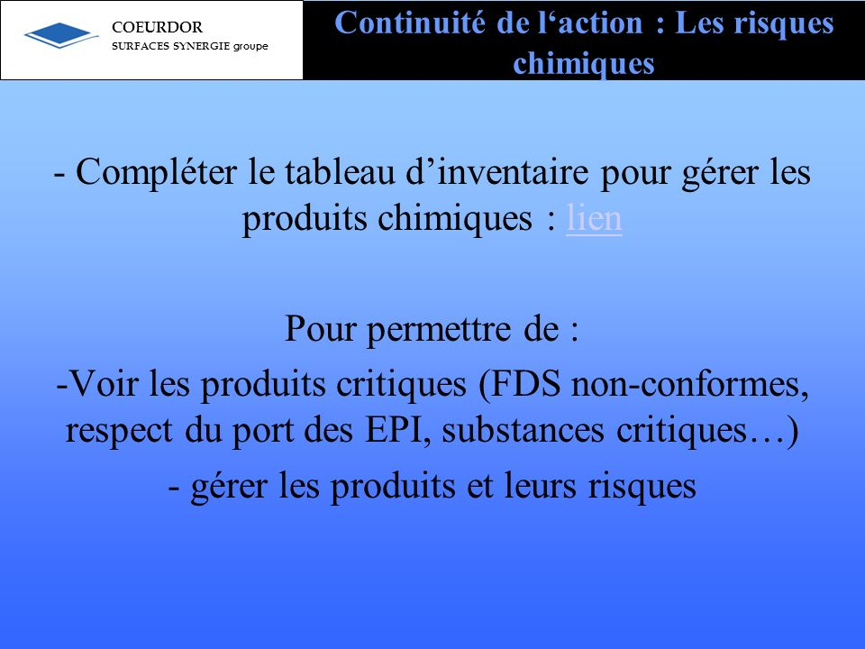 Continuité de l'action : Les risques chimiques