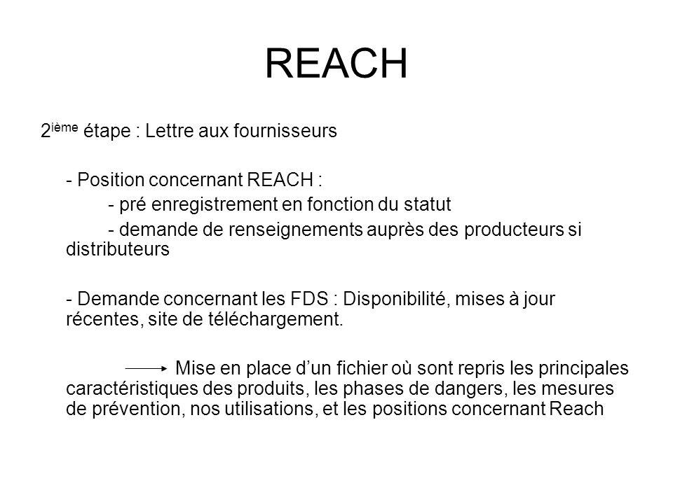 REACH 2ième étape : Lettre aux fournisseurs
