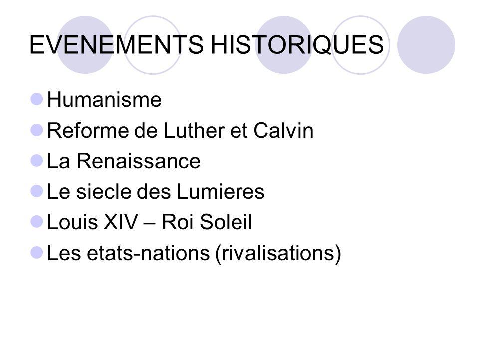 EVENEMENTS HISTORIQUES