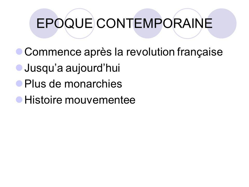 EPOQUE CONTEMPORAINE Commence après la revolution française