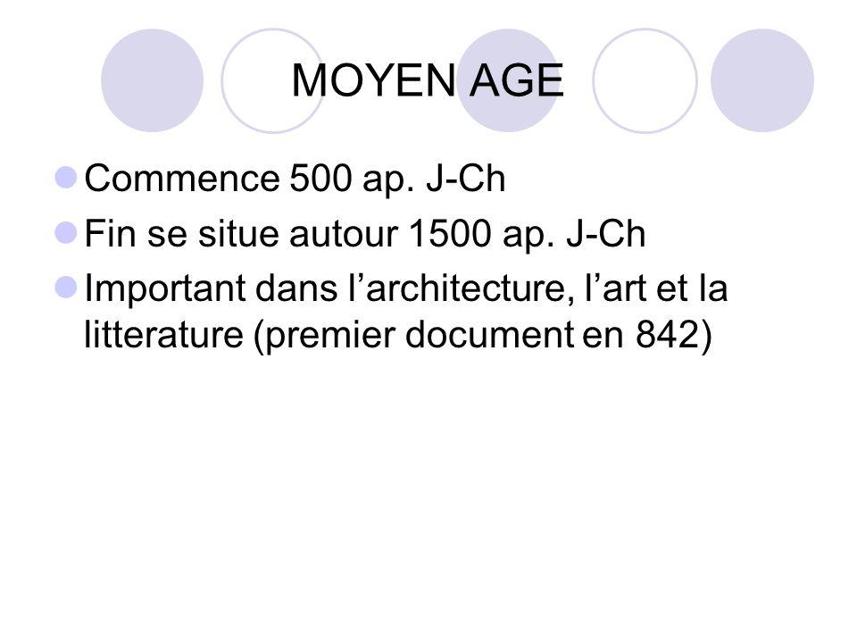 MOYEN AGE Commence 500 ap. J-Ch Fin se situe autour 1500 ap. J-Ch