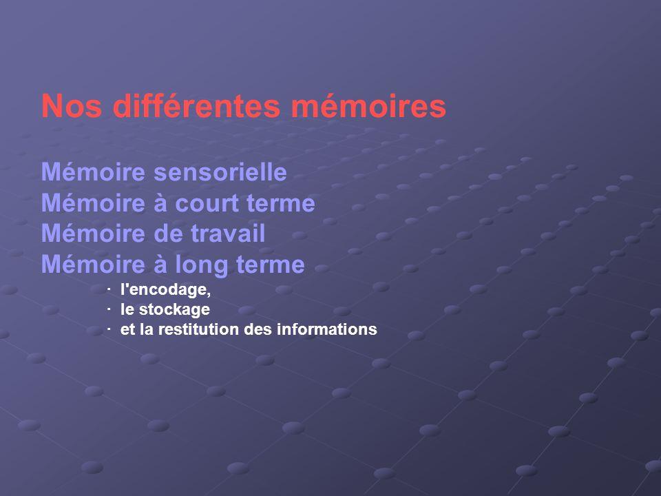 Nos différentes mémoires
