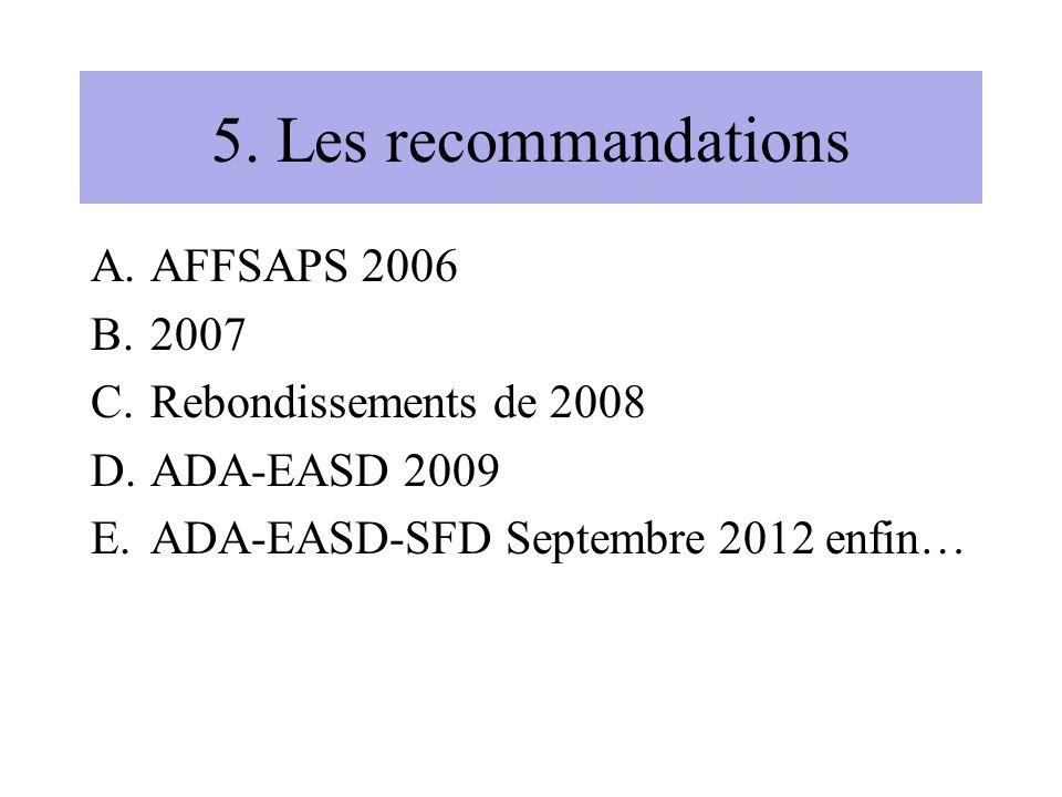 5. Les recommandations AFFSAPS 2006 2007 Rebondissements de 2008