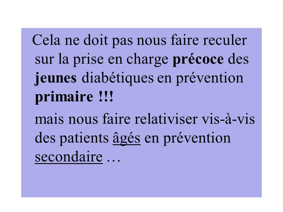 Cela ne doit pas nous faire reculer sur la prise en charge précoce des jeunes diabétiques en prévention primaire !!!