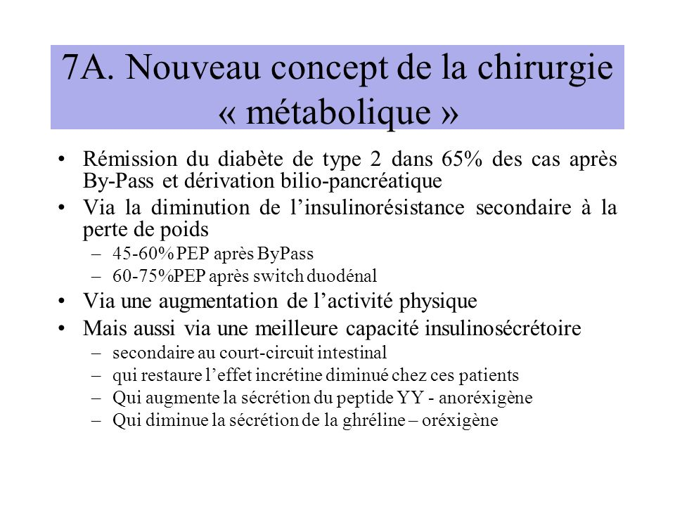 7A. Nouveau concept de la chirurgie « métabolique »
