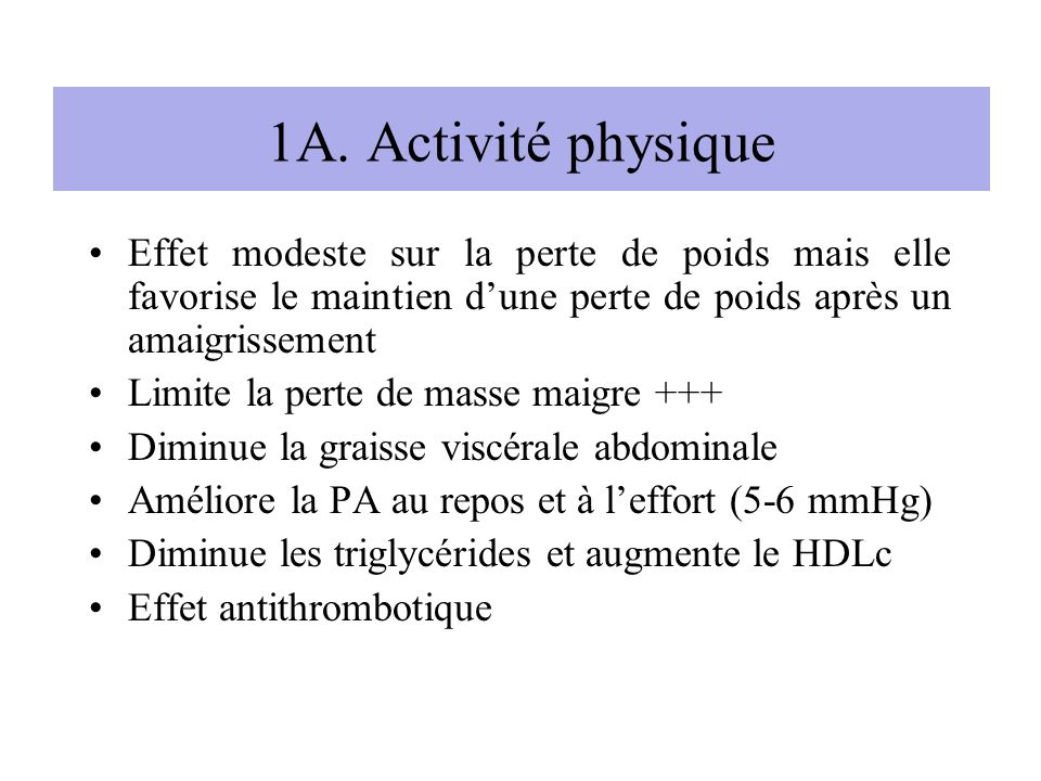 1A. Activité physique Effet modeste sur la perte de poids mais elle favorise le maintien d'une perte de poids après un amaigrissement.
