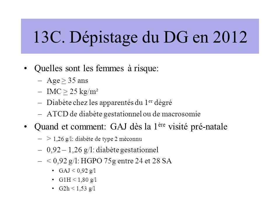 13C. Dépistage du DG en 2012 Quelles sont les femmes à risque: