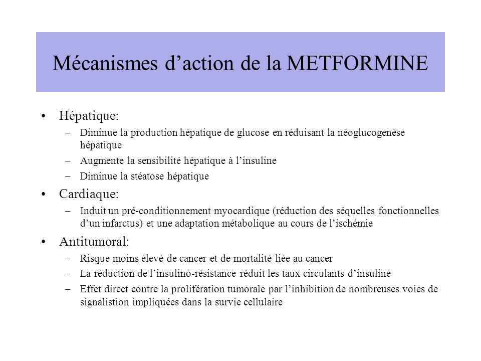 Mécanismes d'action de la METFORMINE