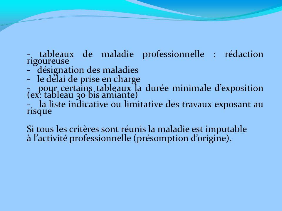 - tableaux de maladie professionnelle : rédaction rigoureuse