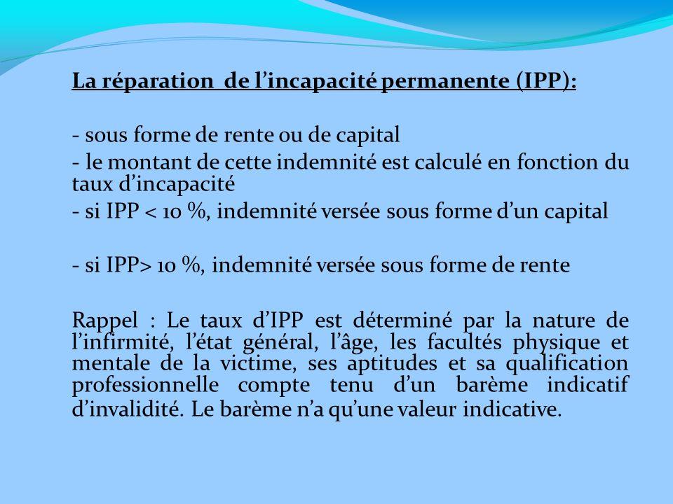 La réparation de l'incapacité permanente (IPP):