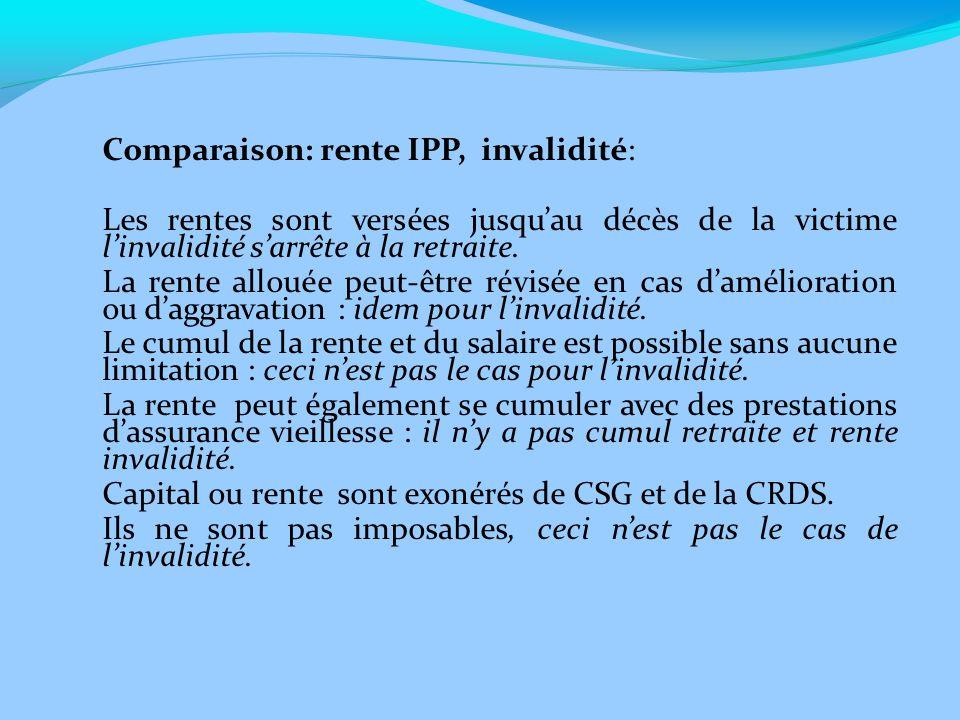 Comparaison: rente IPP, invalidité: