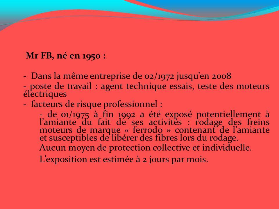 Mr FB, né en 1950 : - Dans la même entreprise de 02/1972 jusqu'en 2008