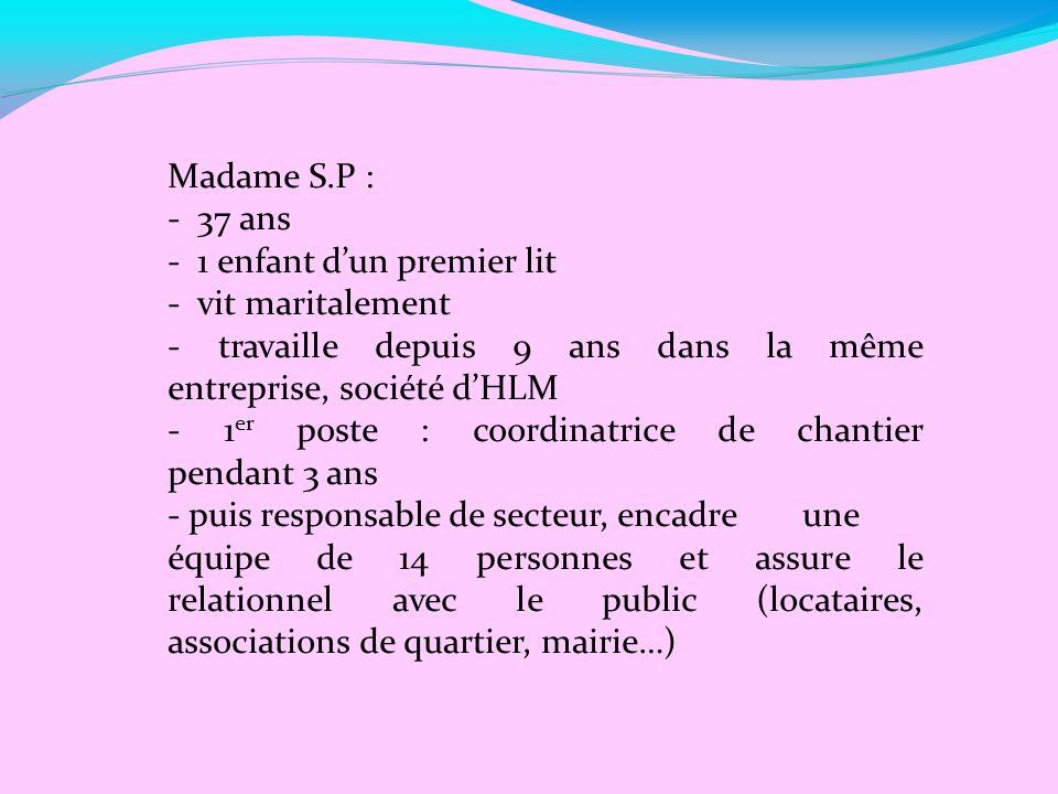 Madame S.P : - 37 ans. - 1 enfant d'un premier lit. - vit maritalement. - travaille depuis 9 ans dans la même entreprise, société d'HLM.
