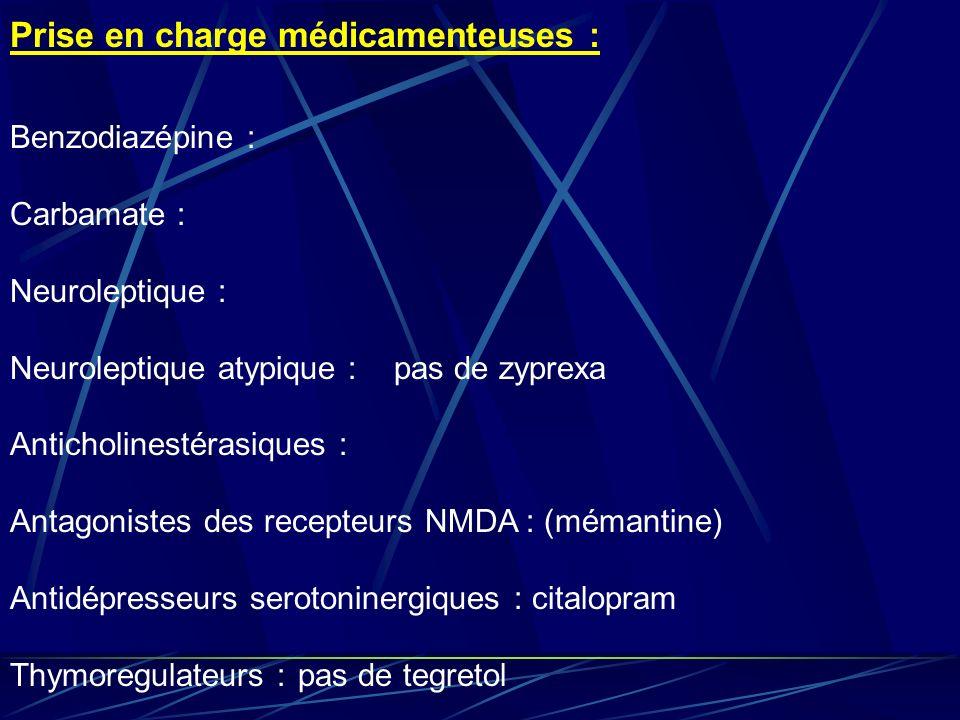 Prise en charge médicamenteuses :