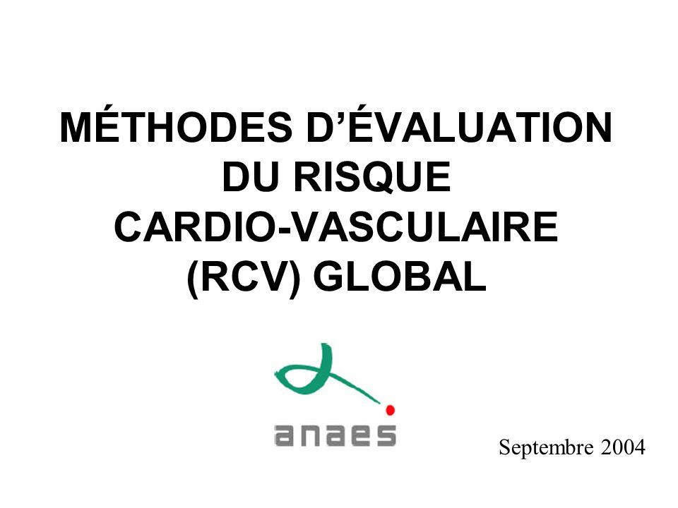 MÉTHODES D'ÉVALUATION DU RISQUE CARDIO-VASCULAIRE (RCV) GLOBAL
