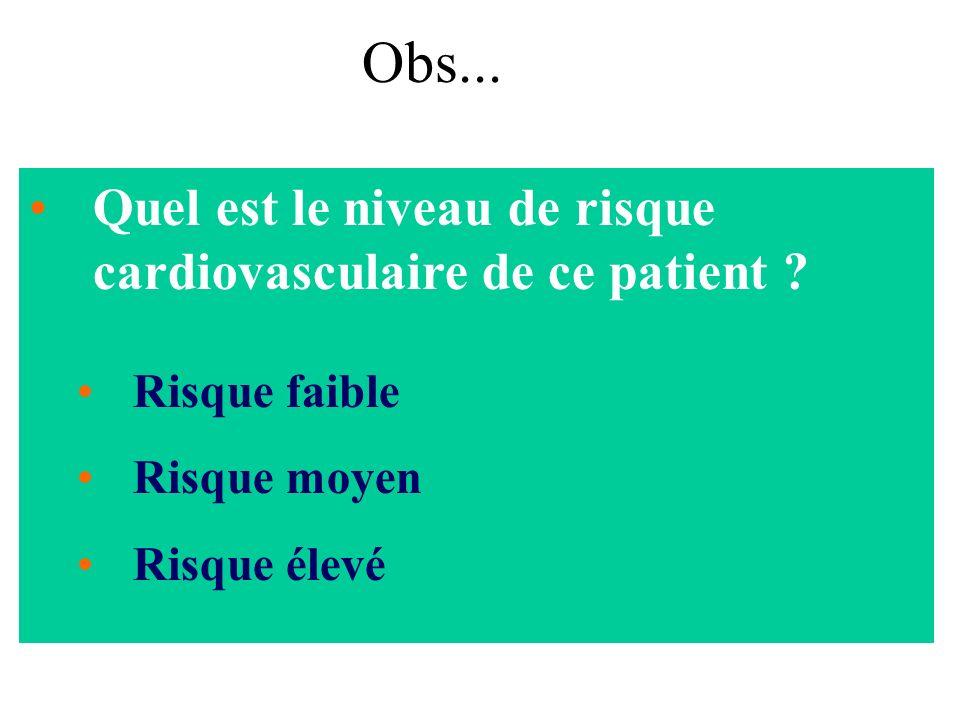 Obs... Quel est le niveau de risque cardiovasculaire de ce patient
