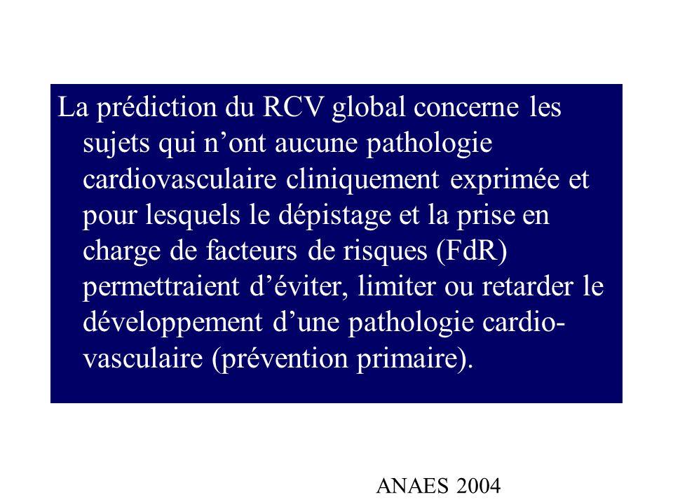 La prédiction du RCV global concerne les sujets qui n'ont aucune pathologie cardiovasculaire cliniquement exprimée et pour lesquels le dépistage et la prise en charge de facteurs de risques (FdR) permettraient d'éviter, limiter ou retarder le développement d'une pathologie cardio-vasculaire (prévention primaire).