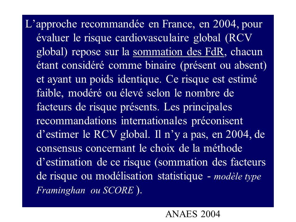 L'approche recommandée en France, en 2004, pour évaluer le risque cardiovasculaire global (RCV global) repose sur la sommation des FdR, chacun étant considéré comme binaire (présent ou absent) et ayant un poids identique. Ce risque est estimé faible, modéré ou élevé selon le nombre de facteurs de risque présents. Les principales recommandations internationales préconisent d'estimer le RCV global. Il n'y a pas, en 2004, de consensus concernant le choix de la méthode d'estimation de ce risque (sommation des facteurs de risque ou modélisation statistique - modèle type Framinghan ou SCORE ).