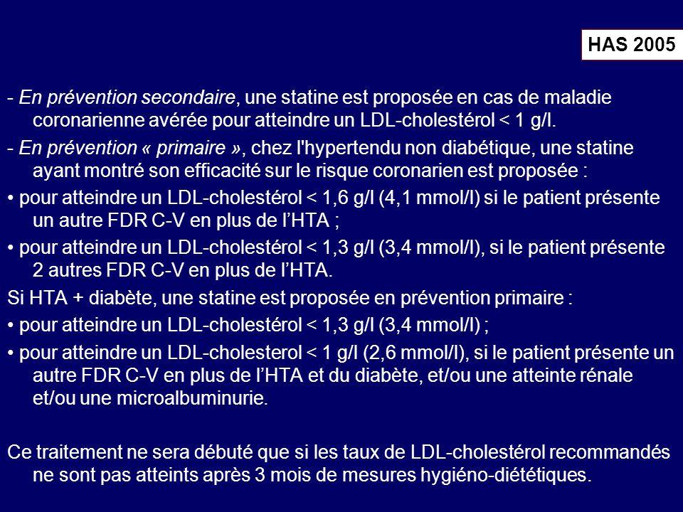 - En prévention secondaire, une statine est proposée en cas de maladie coronarienne avérée pour atteindre un LDL-cholestérol < 1 g/l.