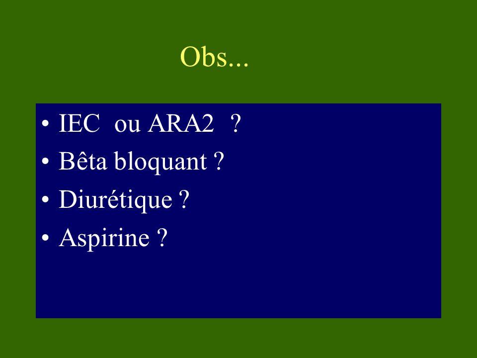 Obs... IEC ou ARA2 Bêta bloquant Diurétique Aspirine