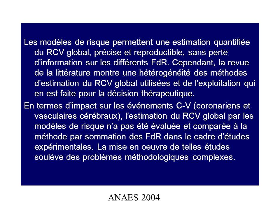 Les modèles de risque permettent une estimation quantifiée du RCV global, précise et reproductible, sans perte d'information sur les différents FdR. Cependant, la revue de la littérature montre une hétérogénéité des méthodes d'estimation du RCV global utilisées et de l'exploitation qui en est faite pour la décision thérapeutique.