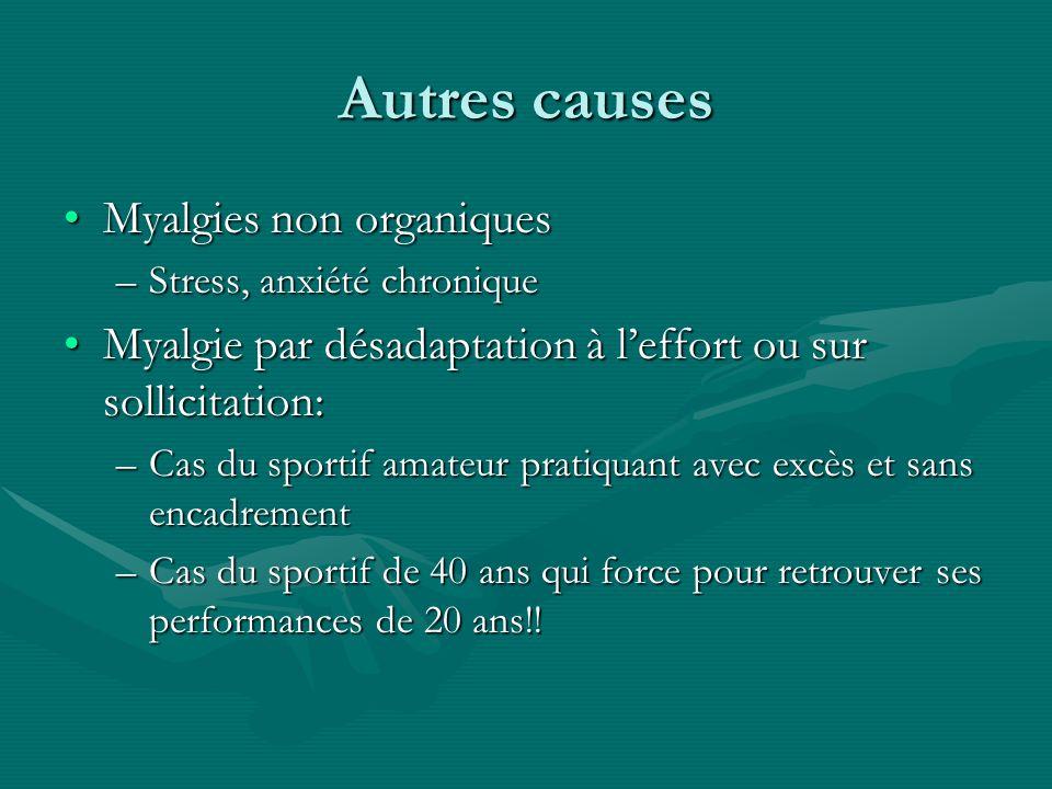 Autres causes Myalgies non organiques