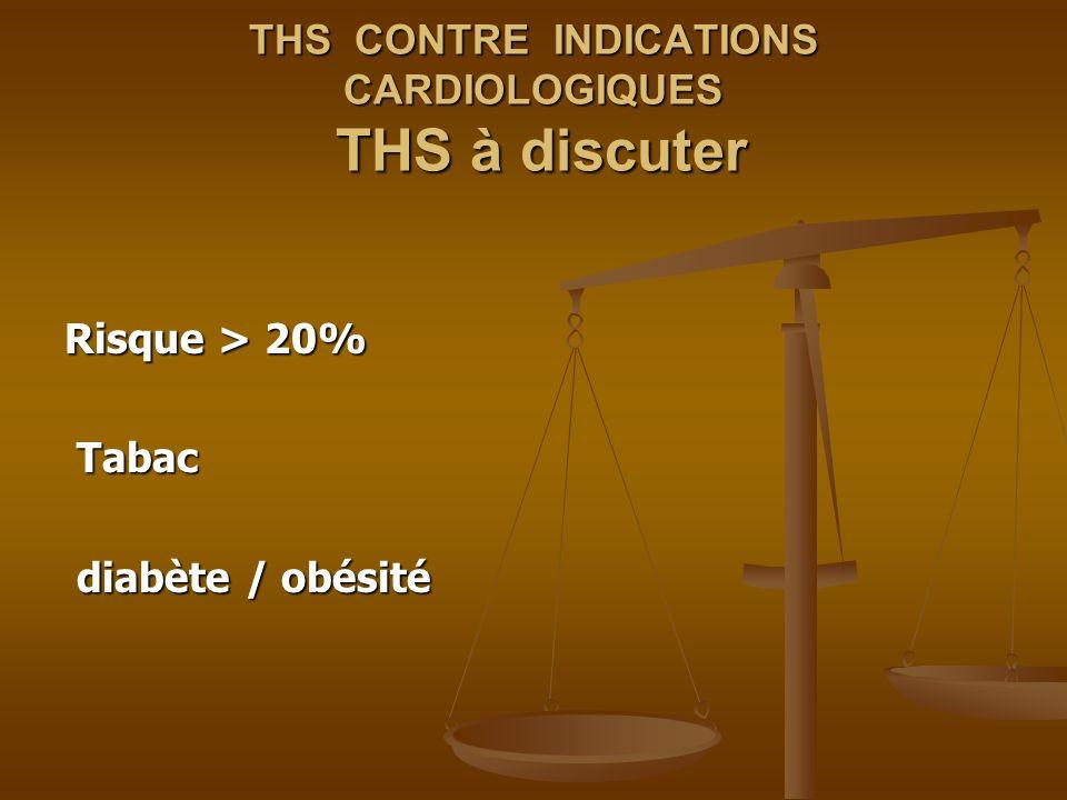 THS CONTRE INDICATIONS CARDIOLOGIQUES THS à discuter