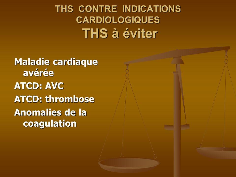 THS CONTRE INDICATIONS CARDIOLOGIQUES THS à éviter