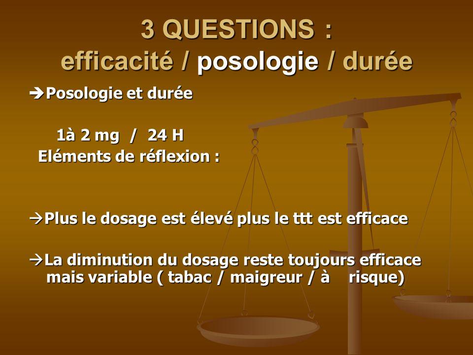 3 QUESTIONS : efficacité / posologie / durée