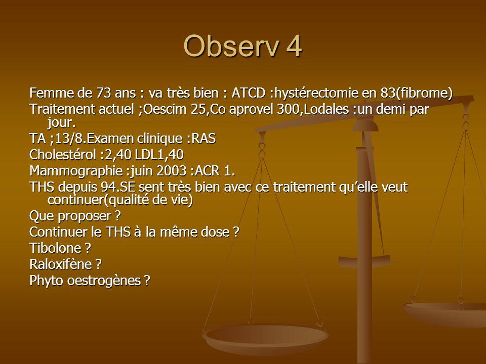 Observ 4 Femme de 73 ans : va très bien : ATCD :hystérectomie en 83(fibrome) Traitement actuel ;Oescim 25,Co aprovel 300,Lodales :un demi par jour.